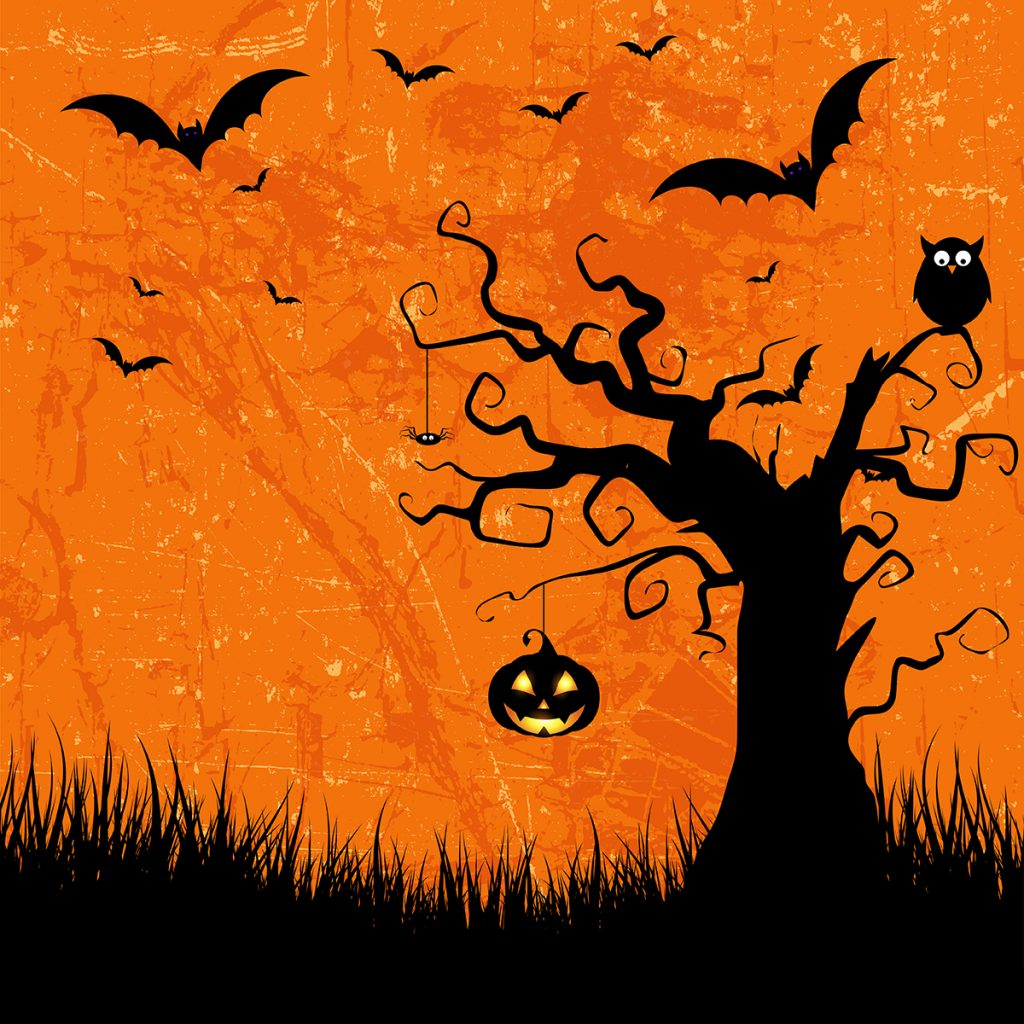 Grunge style Halloween background with bats, jack o lantern and owl Designed by Freepik